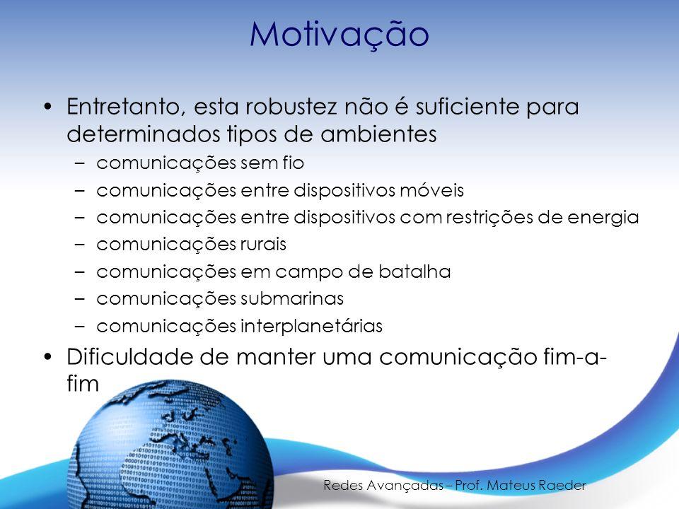 Redes Avançadas – Prof. Mateus Raeder Motivação Entretanto, esta robustez não é suficiente para determinados tipos de ambientes –comunicações sem fio