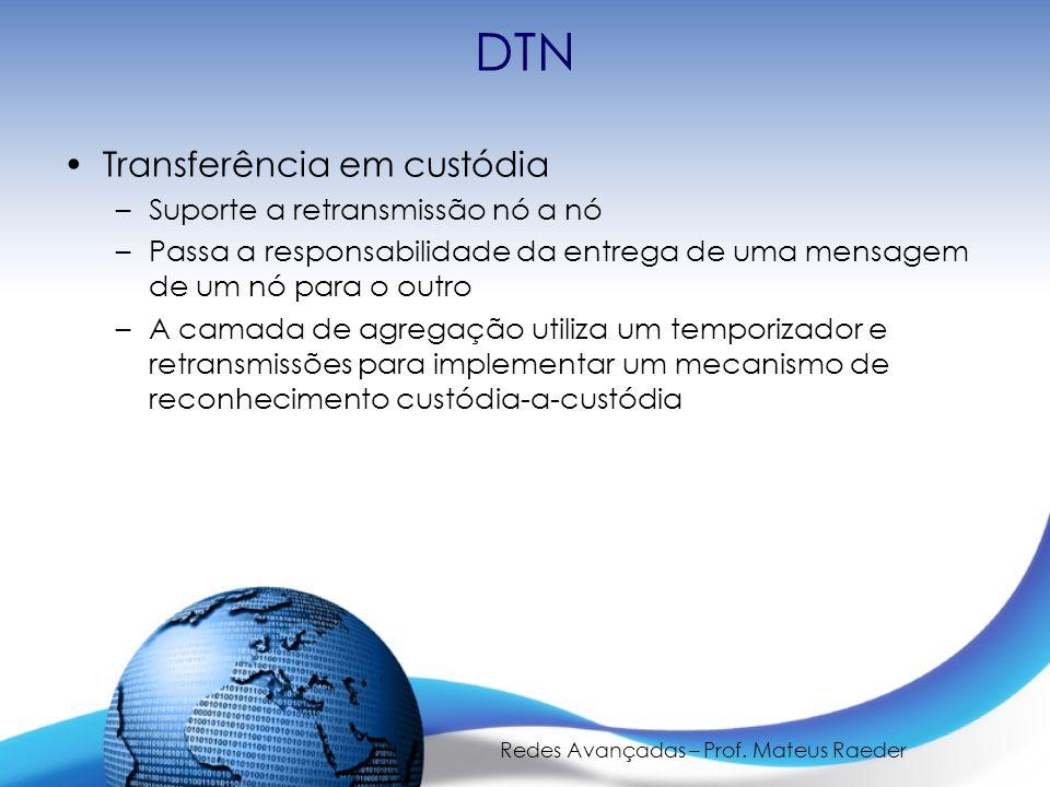 Redes Avançadas – Prof. Mateus Raeder DTN Transferência em custódia –Suporte a retransmissão nó a nó –Passa a responsabilidade da entrega de uma mensa