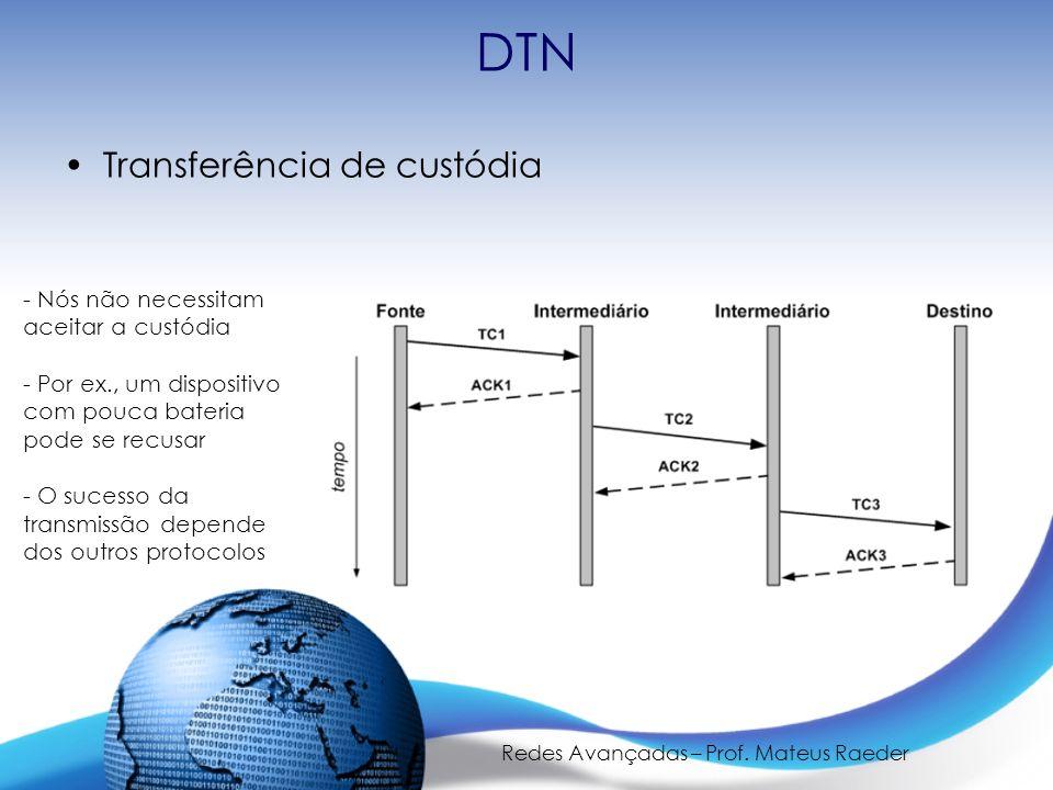 Redes Avançadas – Prof. Mateus Raeder DTN Transferência de custódia - Nós não necessitam aceitar a custódia - Por ex., um dispositivo com pouca bateri
