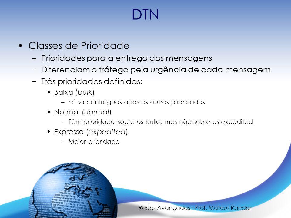 Redes Avançadas – Prof. Mateus Raeder DTN Classes de Prioridade –Prioridades para a entrega das mensagens –Diferenciam o tráfego pela urgência de cada
