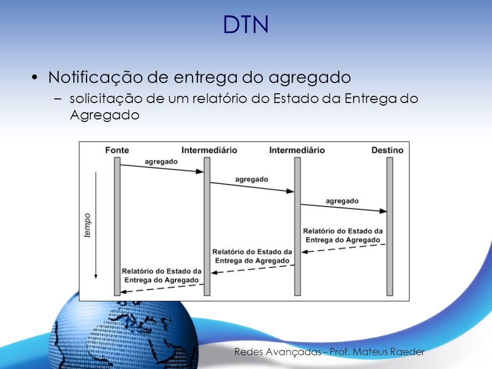 Redes Avançadas – Prof. Mateus Raeder DTN Notificação de entrega do agregado –solicitação de um relatório do Estado da Entrega do Agregado