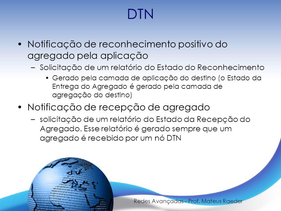 Redes Avançadas – Prof. Mateus Raeder DTN Notificação de reconhecimento positivo do agregado pela aplicação –Solicitação de um relatório do Estado do
