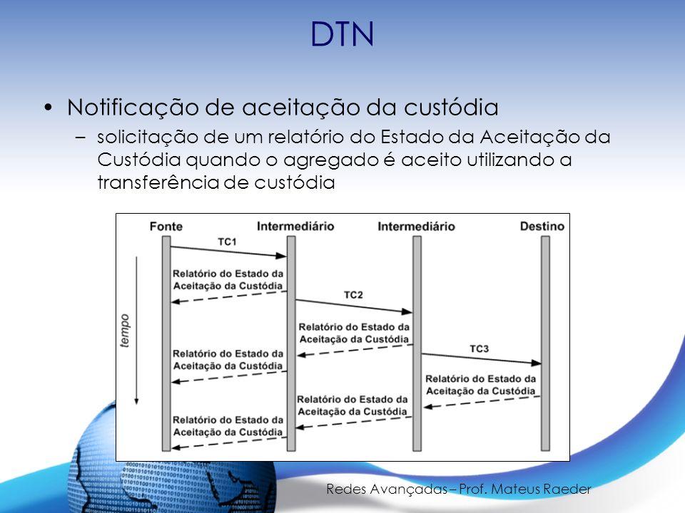 Redes Avançadas – Prof. Mateus Raeder DTN Notificação de aceitação da custódia –solicitação de um relatório do Estado da Aceitação da Custódia quando