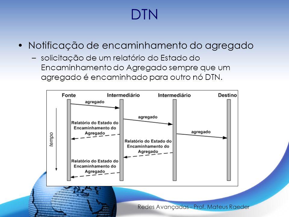 Redes Avançadas – Prof. Mateus Raeder DTN Notificação de encaminhamento do agregado –solicitação de um relatório do Estado do Encaminhamento do Agrega
