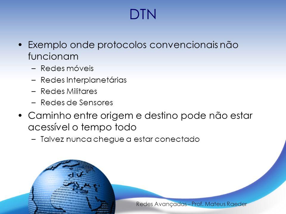 Redes Avançadas – Prof. Mateus Raeder DTN Exemplo onde protocolos convencionais não funcionam –Redes móveis –Redes Interplanetárias –Redes Militares –