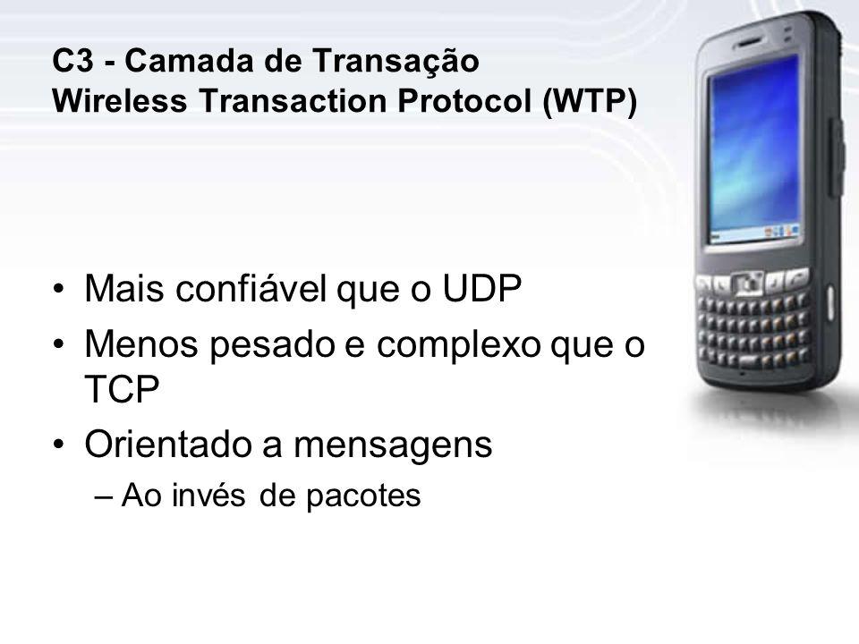 C3 - Camada de Transação Wireless Transaction Protocol (WTP) Mais confiável que o UDP Menos pesado e complexo que o TCP Orientado a mensagens –Ao invés de pacotes