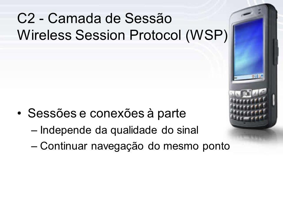 C2 - Camada de Sessão Wireless Session Protocol (WSP) Sessões e conexões à parte –Independe da qualidade do sinal –Continuar navegação do mesmo ponto