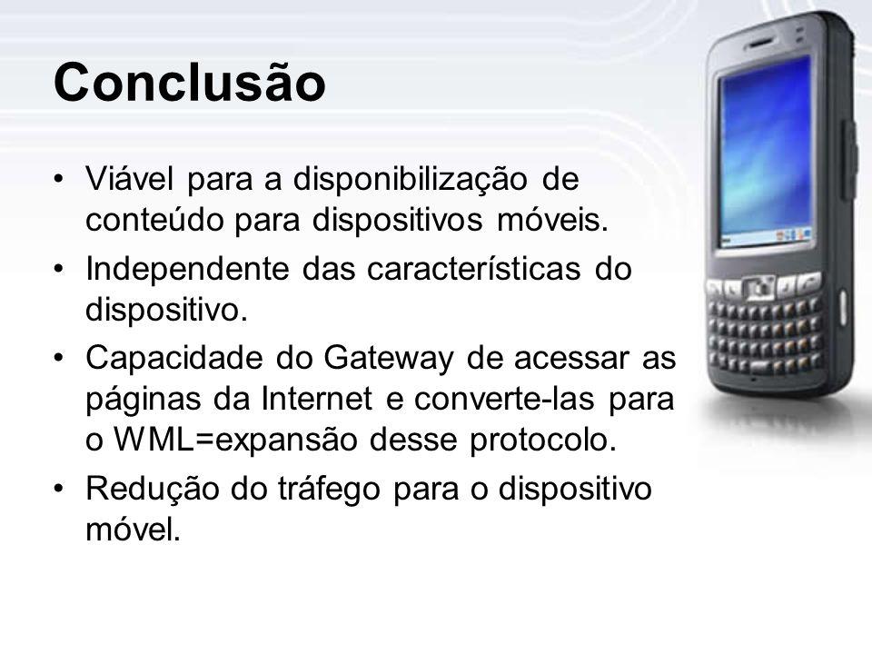 Conclusão Viável para a disponibilização de conteúdo para dispositivos móveis.