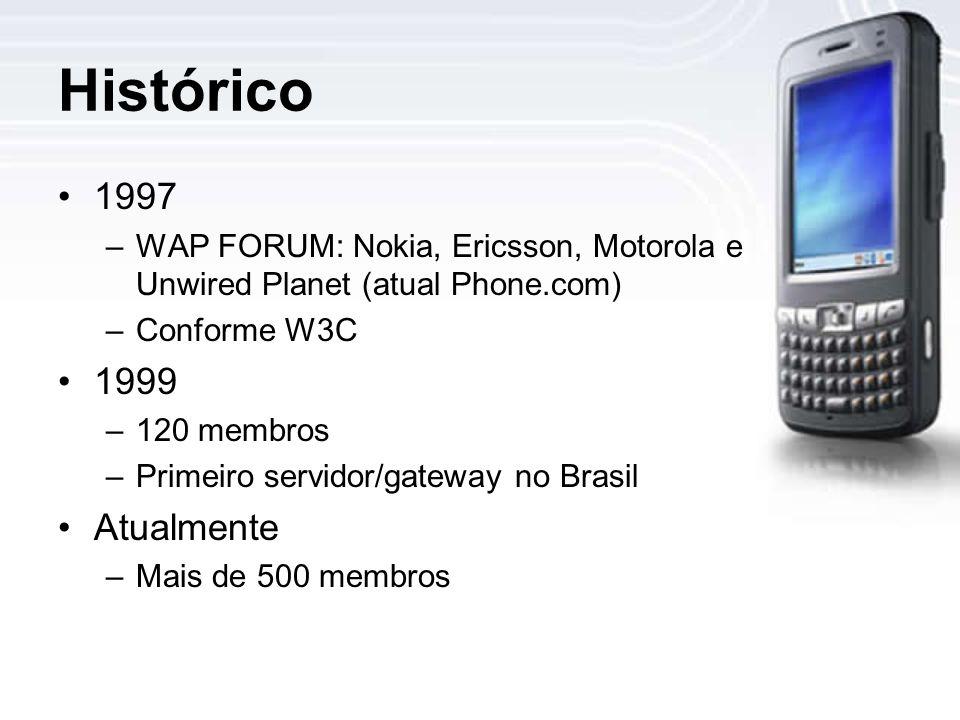Histórico 1997 –WAP FORUM: Nokia, Ericsson, Motorola e Unwired Planet (atual Phone.com) –Conforme W3C 1999 –120 membros –Primeiro servidor/gateway no Brasil Atualmente –Mais de 500 membros