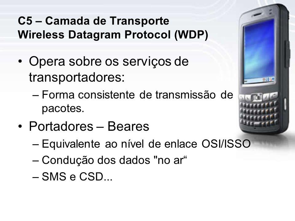 C5 – Camada de Transporte Wireless Datagram Protocol (WDP) Opera sobre os serviços de transportadores: –Forma consistente de transmissão de pacotes.