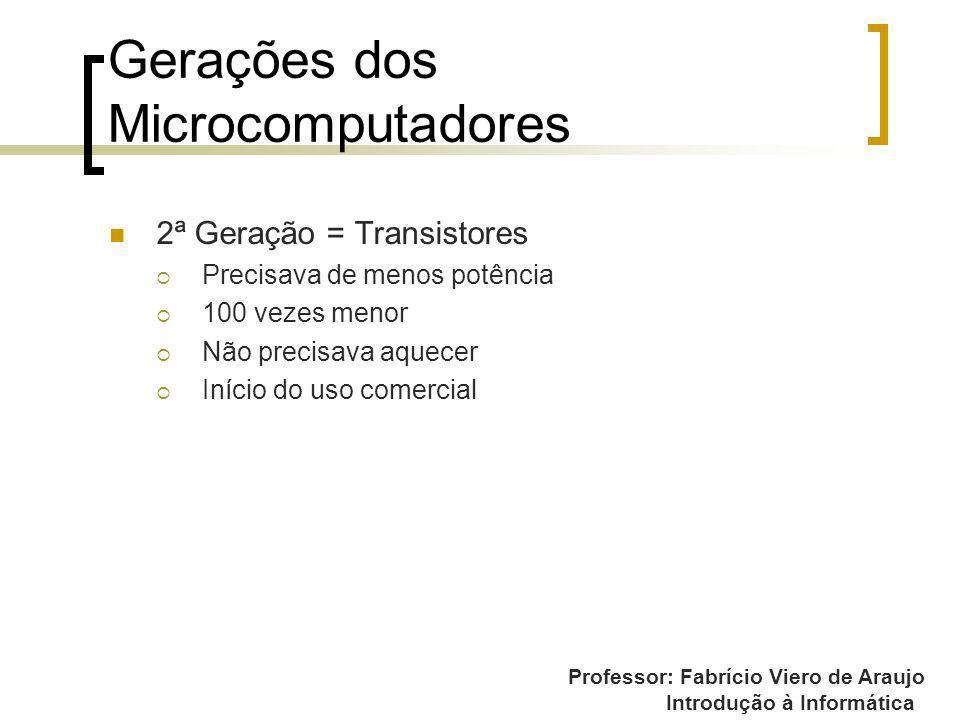 Professor: Fabrício Viero de Araujo Introdução à Informática Gerações dos Microcomputadores 2ª Geração = Transistores Precisava de menos potência 100