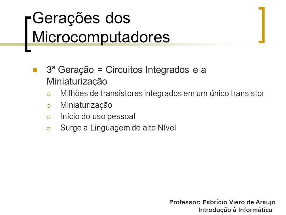 Professor: Fabrício Viero de Araujo Introdução à Informática Gerações dos Microcomputadores 3ª Geração = Circuitos Integrados e a Miniaturização Milhõ