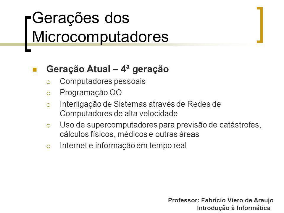 Professor: Fabrício Viero de Araujo Introdução à Informática Gerações dos Microcomputadores Geração Atual – 4ª geração Computadores pessoais Programaç