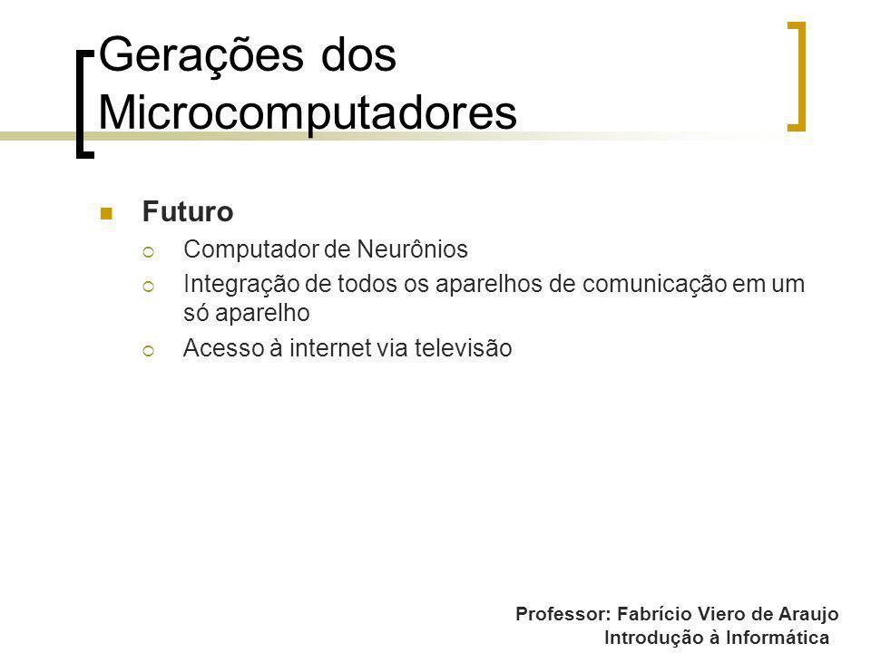 Professor: Fabrício Viero de Araujo Introdução à Informática Gerações dos Microcomputadores Futuro Computador de Neurônios Integração de todos os apar