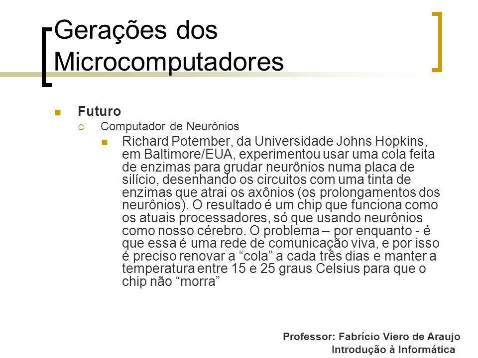 Professor: Fabrício Viero de Araujo Introdução à Informática Gerações dos Microcomputadores Futuro Computador de Neurônios Richard Potember, da Univer