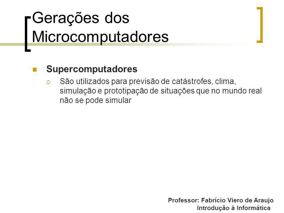 Professor: Fabrício Viero de Araujo Introdução à Informática Gerações dos Microcomputadores Supercomputadores São utilizados para previsão de catástro