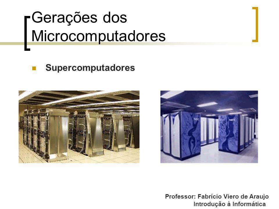 Professor: Fabrício Viero de Araujo Introdução à Informática Gerações dos Microcomputadores Supercomputadores