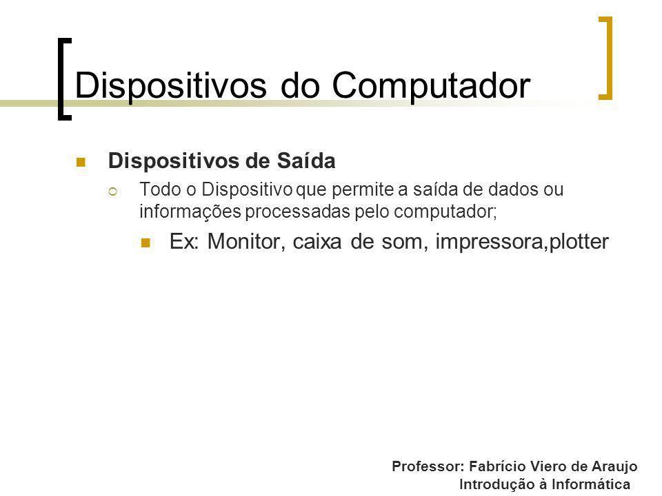 Professor: Fabrício Viero de Araujo Introdução à Informática Dispositivos do Computador Dispositivos de Saída Todo o Dispositivo que permite a saída d