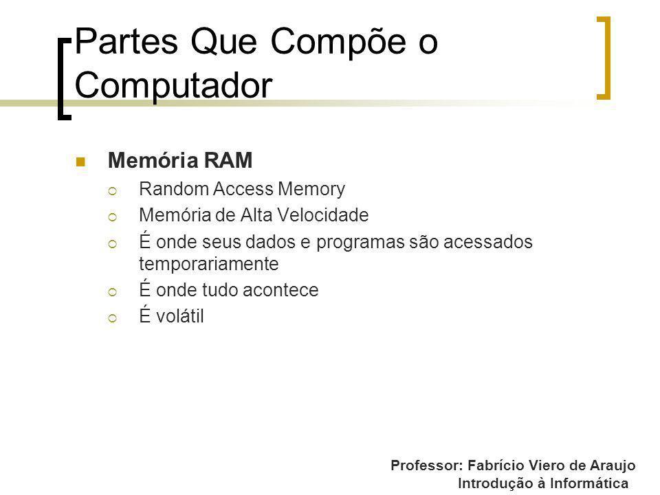 Professor: Fabrício Viero de Araujo Introdução à Informática Partes Que Compõe o Computador Memória RAM Random Access Memory Memória de Alta Velocidad