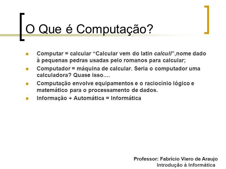Introdução à Informática O Que é Computação? Computar = calcular Calcular vem do latin calculi,nome dado à pequenas pedras usadas pelo romanos para ca