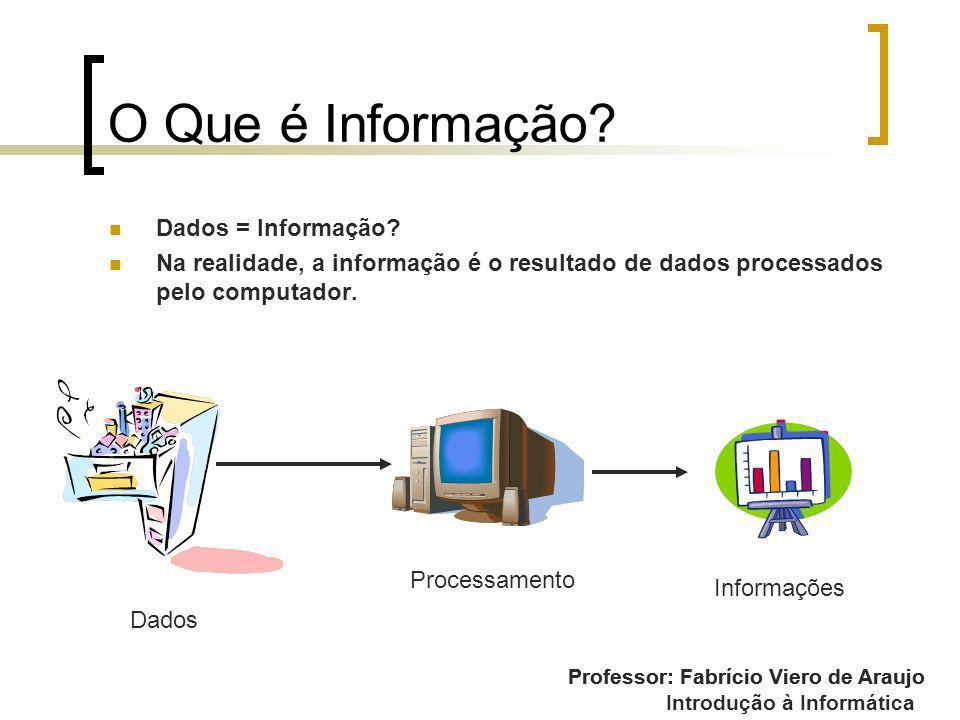 Introdução à Informática O Que é Informação? Dados = Informação? Na realidade, a informação é o resultado de dados processados pelo computador. Profes