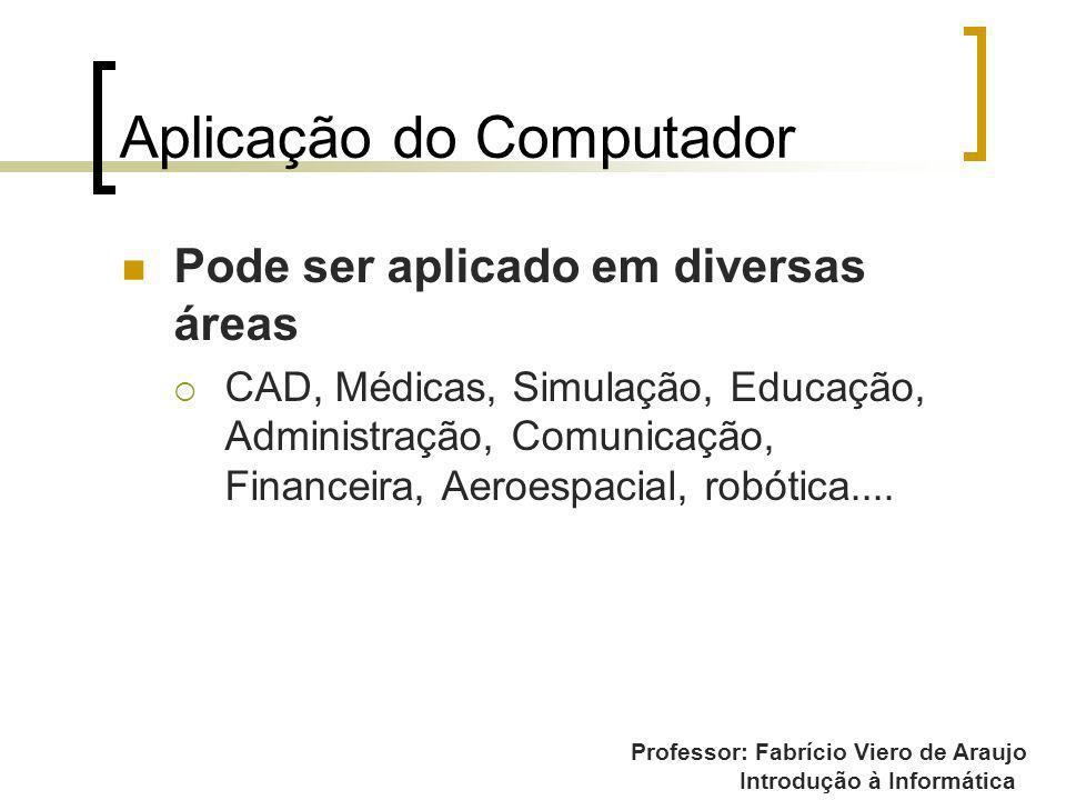 Professor: Fabrício Viero de Araujo Introdução à Informática Aplicação do Computador Pode ser aplicado em diversas áreas CAD, Médicas, Simulação, Educ