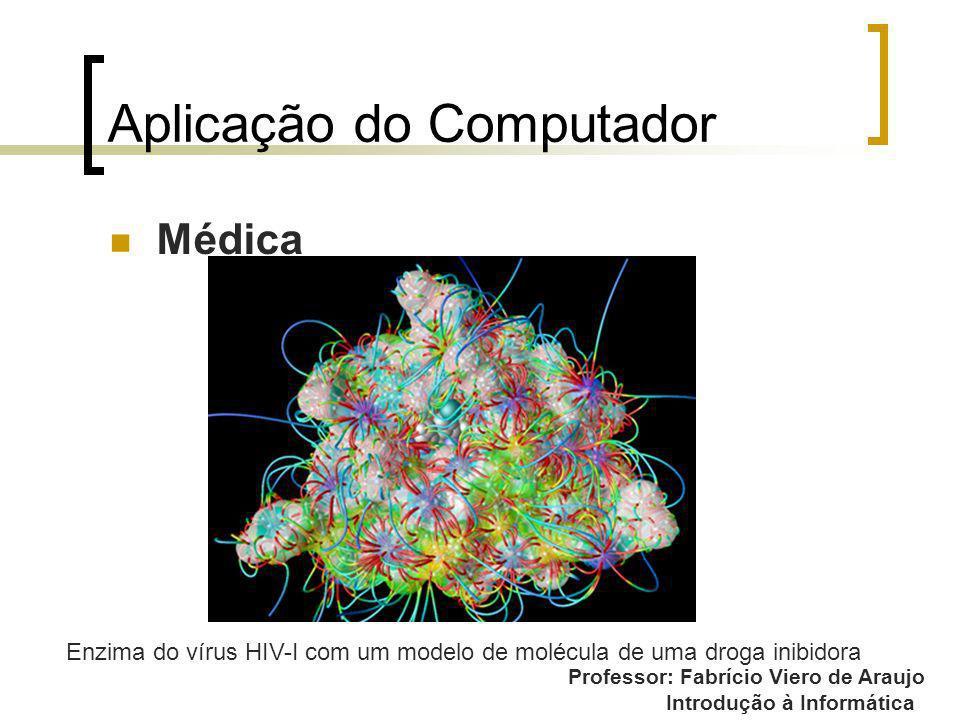Professor: Fabrício Viero de Araujo Introdução à Informática Aplicação do Computador Médica Enzima do vírus HIV-I com um modelo de molécula de uma dro