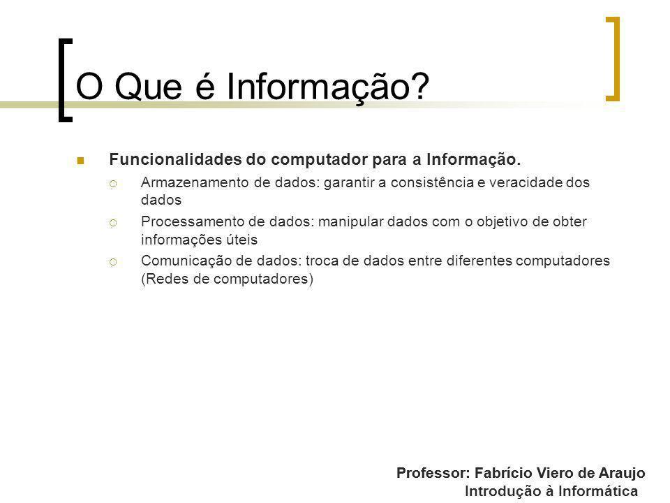 Professor: Fabrício Viero de Araujo Introdução à Informática O Que é Informação? Funcionalidades do computador para a Informação. Armazenamento de dad