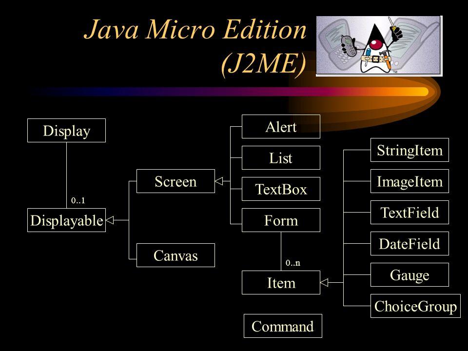 Java Micro Edition (J2ME) Display Displayable Screen Canvas Alert List TextBox Form Item StringItem ImageItem TextField DateField Gauge ChoiceGroup 0.