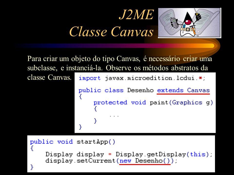 J2ME Classe Canvas Para criar um objeto do tipo Canvas, é necessário criar uma subclasse, e instanciá-la. Observe os métodos abstratos da classe Canva