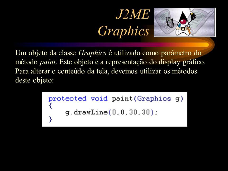 J2ME Graphics Um objeto da classe Graphics é utilizado como parâmetro do método paint. Este objeto é a representação do display gráfico. Para alterar