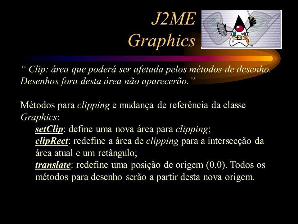 J2ME Graphics Clip: área que poderá ser afetada pelos métodos de desenho. Desenhos fora desta área não aparecerão. Métodos para clipping e mudança de