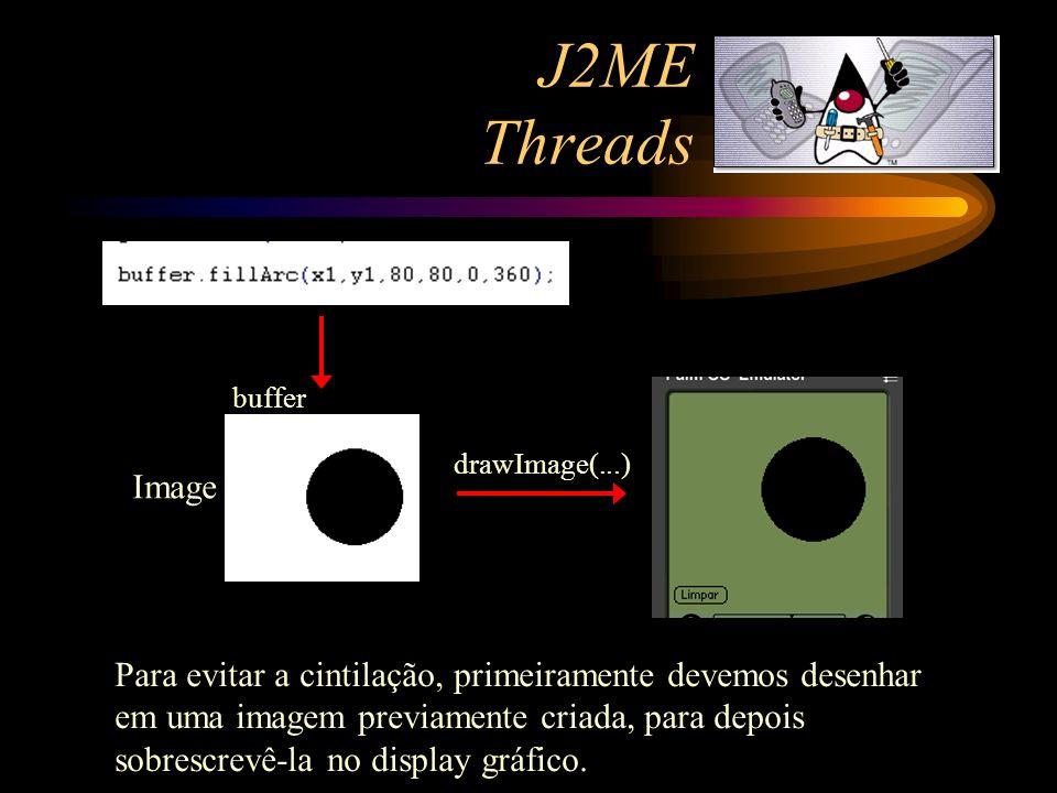 J2ME Threads Image drawImage(...) buffer Para evitar a cintilação, primeiramente devemos desenhar em uma imagem previamente criada, para depois sobres