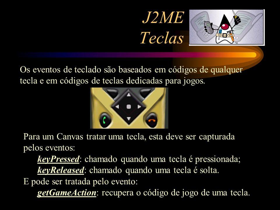 J2ME Teclas Os eventos de teclado são baseados em códigos de qualquer tecla e em códigos de teclas dedicadas para jogos. Para um Canvas tratar uma tec