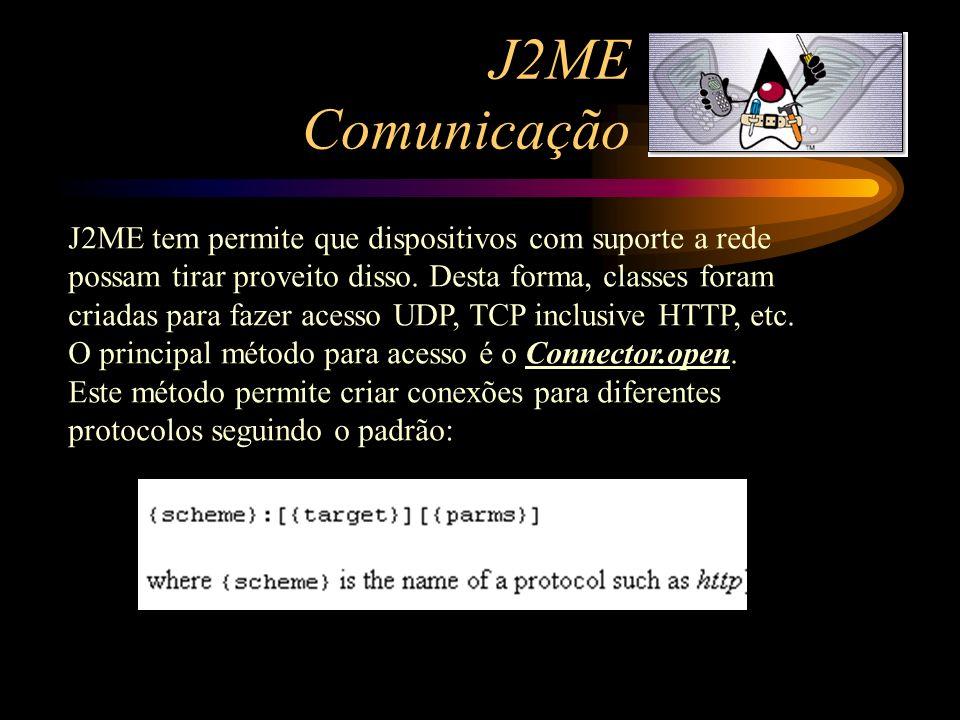 J2ME Comunicação J2ME tem permite que dispositivos com suporte a rede possam tirar proveito disso. Desta forma, classes foram criadas para fazer acess