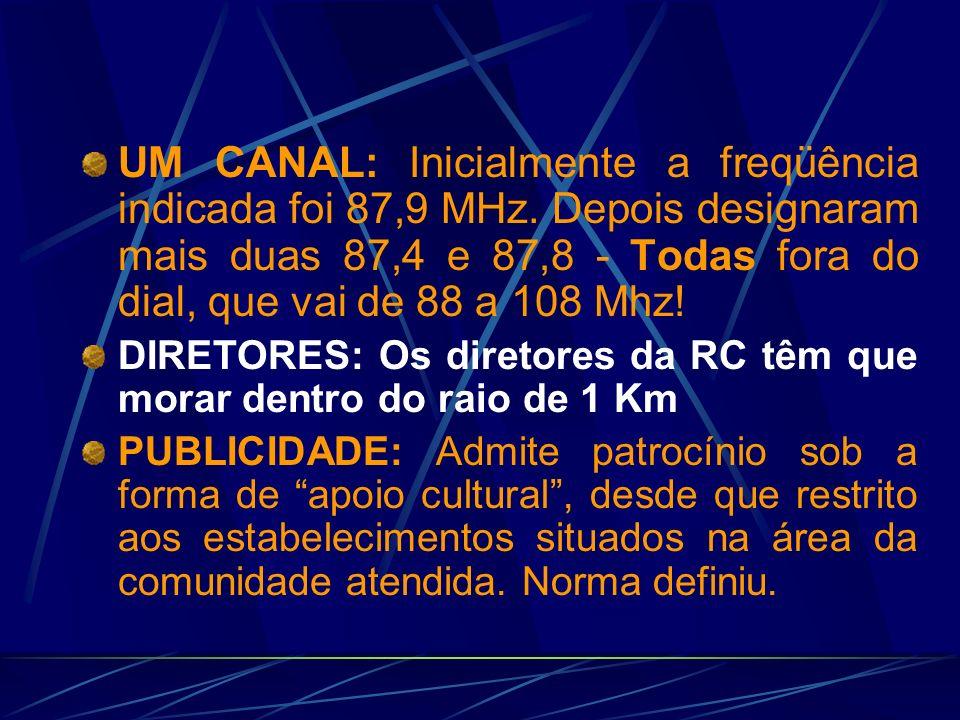 A Lei e o Decreto das RCs ALCANCE: A potência é limitada a 25 Watts, mas o alcance é de 1 Km.
