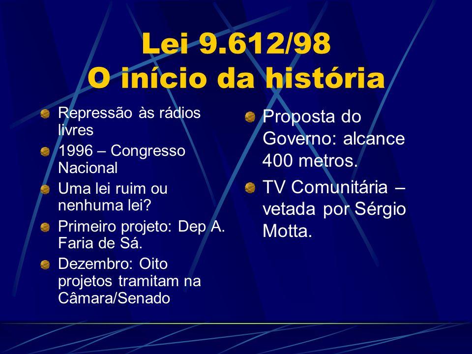 Lei 9.612/98 O início da história Repressão às rádios livres 1996 – Congresso Nacional Uma lei ruim ou nenhuma lei.