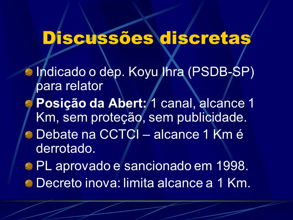 Discussões discretas Indicado o dep.