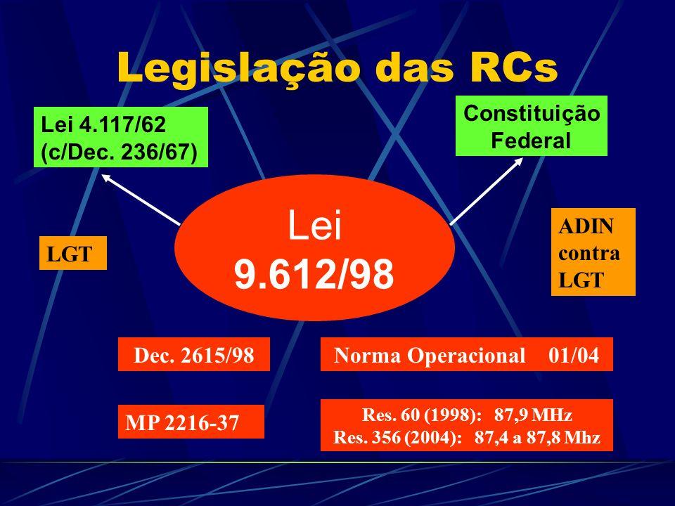 Legislação das RCs Lei 9.612/98 Dec.2615/98Norma Operacional 01/04 Lei 4.117/62 (c/Dec.
