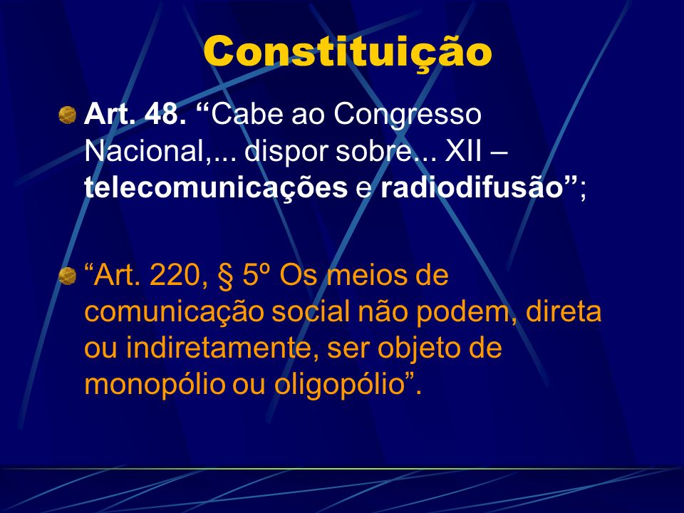 Concessões FM - 2.189 OM - 1.702 OC - 66 OT - 75 RC - 2.195 TV - 443 TOTAL : 6.670 Rádio: 10 anos TV: 15 anos (a renovação não é paga) RC nas UFs: MG - 425 SP - 288 BA - 159 PR - 140 CE - 132 GO/PE - 113 RS - 104 MA - 99
