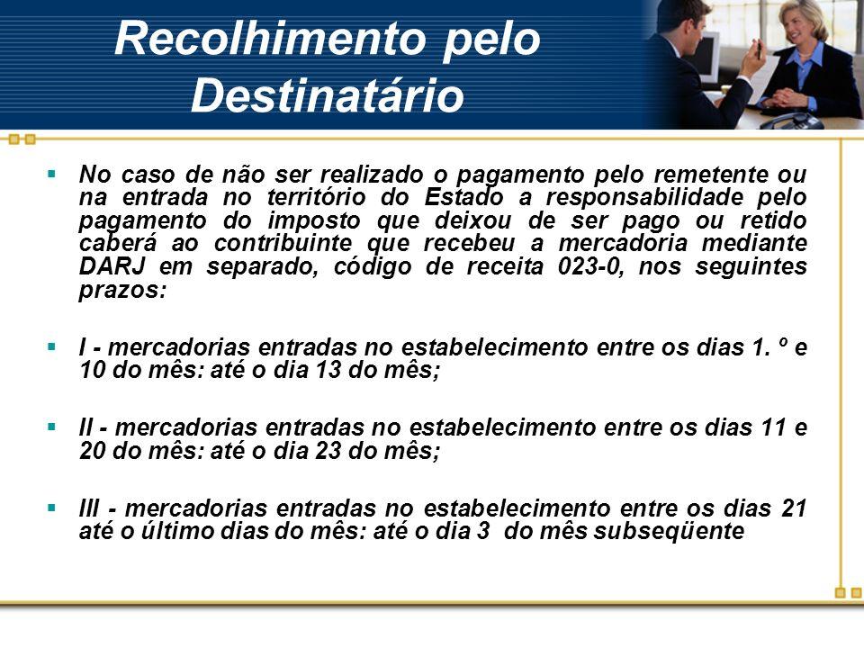 Recolhimento pelo Destinatário No caso de não ser realizado o pagamento pelo remetente ou na entrada no território do Estado a responsabilidade pelo p