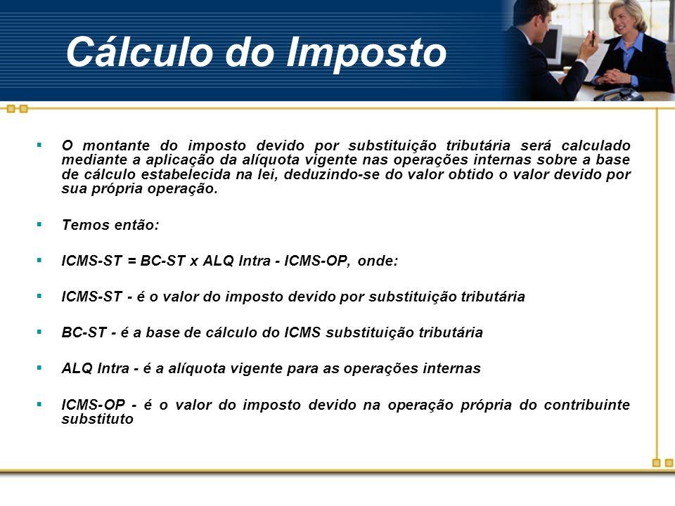 Cálculo do Imposto O montante do imposto devido por substituição tributária será calculado mediante a aplicação da alíquota vigente nas operações inte