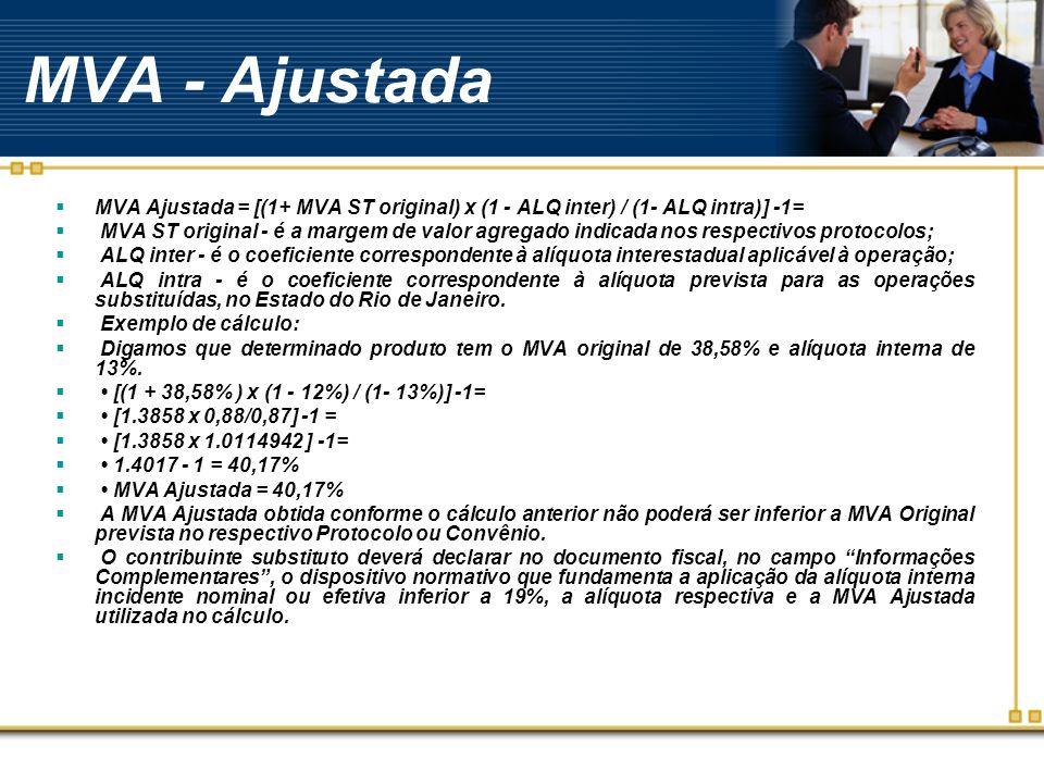 MVA - Ajustada MVA Ajustada = [(1+ MVA ST original) x (1 - ALQ inter) / (1- ALQ intra)] -1= MVA ST original - é a margem de valor agregado indicada no