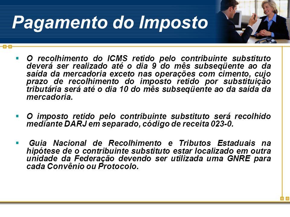 Pagamento do Imposto O recolhimento do ICMS retido pelo contribuinte substituto deverá ser realizado até o dia 9 do mês subseqüente ao da saída da mer