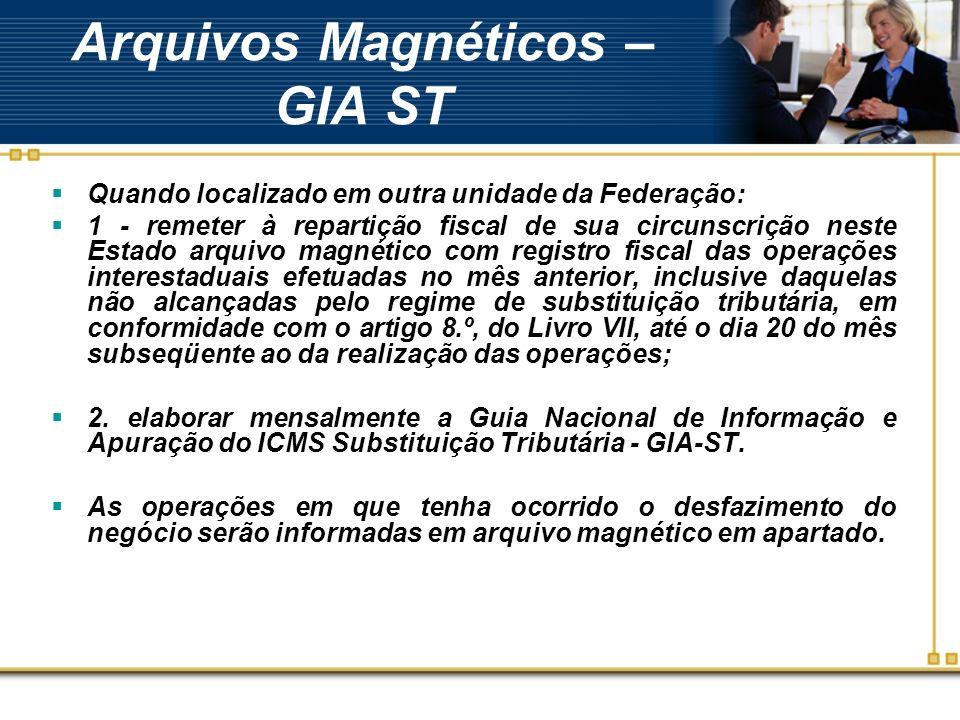 Arquivos Magnéticos – GIA ST Quando localizado em outra unidade da Federação: 1 - remeter à repartição fiscal de sua circunscrição neste Estado arquiv