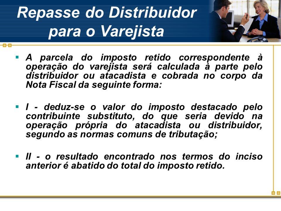 Repasse do Distribuidor para o Varejista A parcela do imposto retido correspondente à operação do varejista será calculada à parte pelo distribuidor o