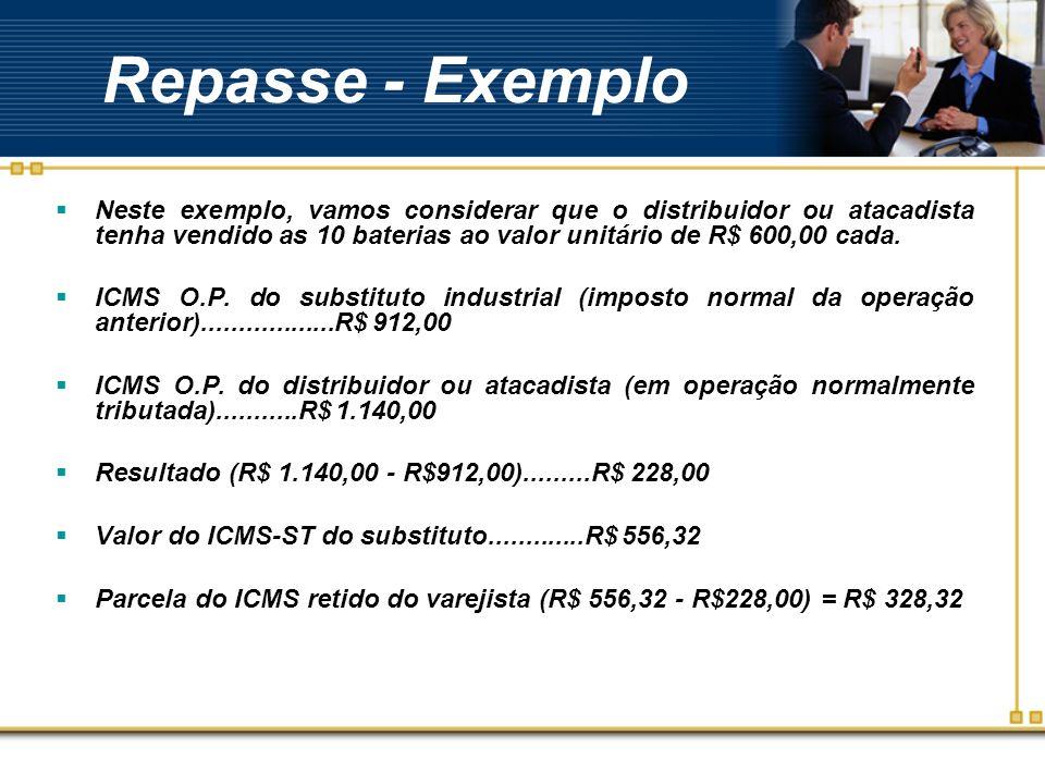 Repasse - Exemplo Neste exemplo, vamos considerar que o distribuidor ou atacadista tenha vendido as 10 baterias ao valor unitário de R$ 600,00 cada. I