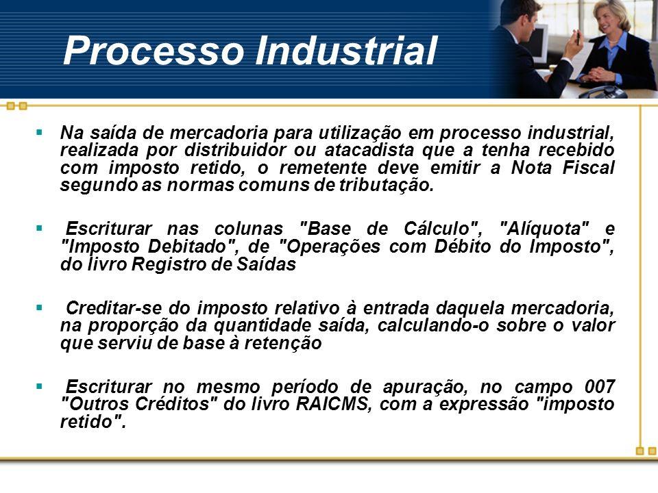 Processo Industrial Na saída de mercadoria para utilização em processo industrial, realizada por distribuidor ou atacadista que a tenha recebido com i