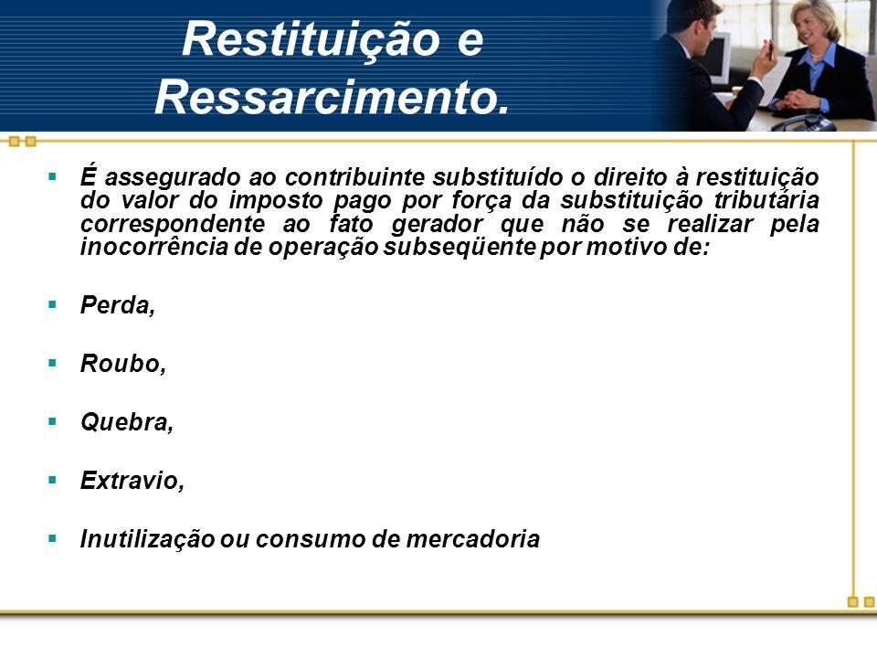 Restituição e Ressarcimento. É assegurado ao contribuinte substituído o direito à restituição do valor do imposto pago por força da substituição tribu