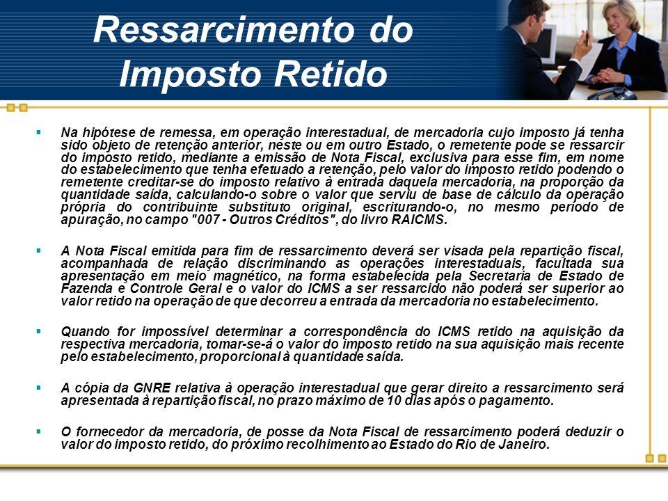 Ressarcimento do Imposto Retido Na hipótese de remessa, em operação interestadual, de mercadoria cujo imposto já tenha sido objeto de retenção anterio